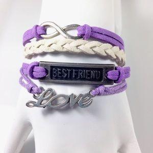 Jewelry - Purple & White Leather Wrap Bracelet